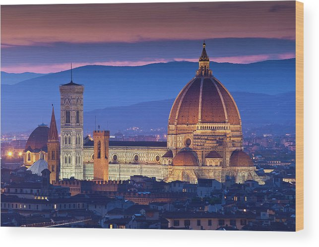Built Structure Wood Print featuring the photograph Florence Catherdral Duomo And City From by Richard I'anson