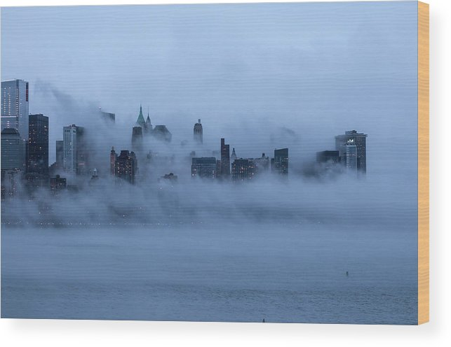 Dawn Wood Print featuring the photograph Foggy New York City by Laverrue Was Here
