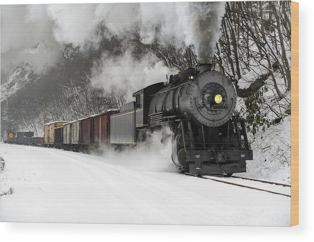 Scenics Wood Print featuring the photograph Freight Train With Steam Locomotive by Catnap72