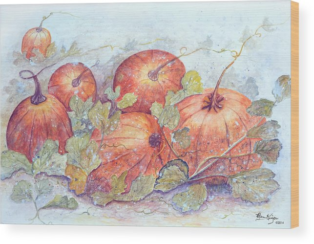 Pumpkin Patch Wood Print featuring the painting Frost on the Pumpkin by Ben Kiger