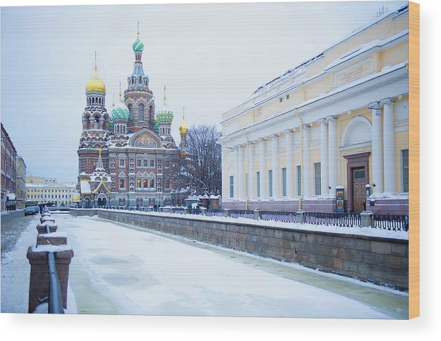Tranquility Wood Print featuring the photograph Frozen Canal Near Church Of The Savior by Jacobs Stock Photography Ltd