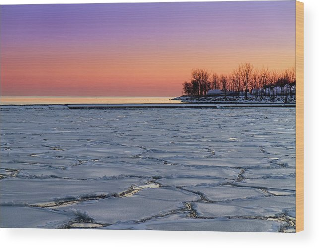 Scenics Wood Print featuring the photograph Frozen Lake Ontario Sunset by Frank Lee