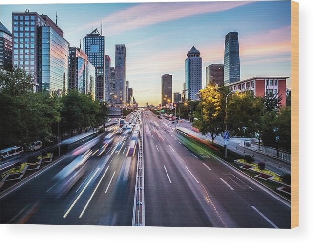 Scenics Wood Print featuring the photograph Futuristic City At Dusk by Itsskin