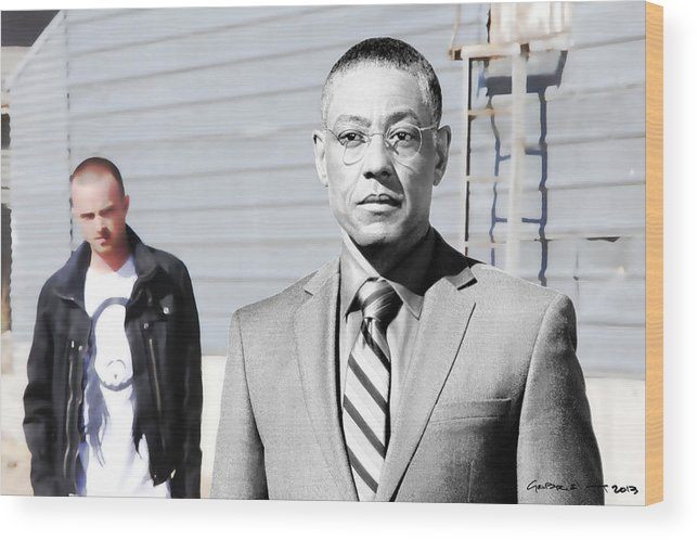 Aaron Paul Wood Print featuring the digital art Giancarlo Esposito as Gustavo Fring and Aaron Paul as Jesse Pinkman @ TV serie Breaking Bad by Gabriel T Toro