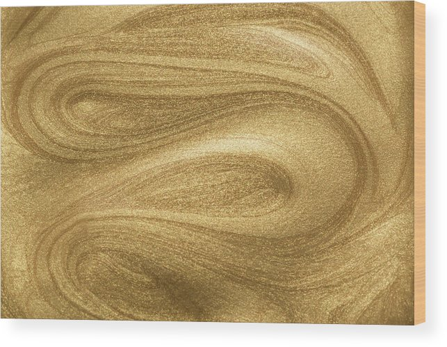 Curve Wood Print featuring the photograph Glittering Gold Paint by Miragec