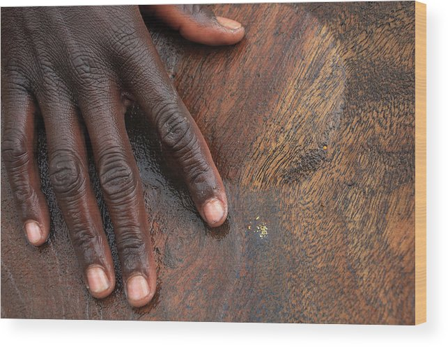 People Wood Print featuring the photograph Gold Panning, Gold And Hand, Ethiopia by Dietmar Temps, Cologne