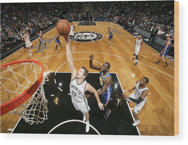 Nba Pro Basketball Wood Print featuring the photograph Golden State Warriors V Brooklyn Nets by Nathaniel S. Butler