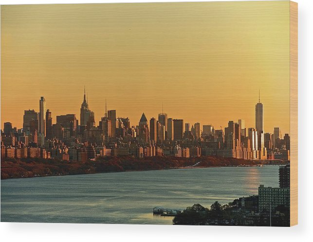 Tranquility Wood Print featuring the photograph Golden Sunset On Nyc Skyline by Robert D. Barnes