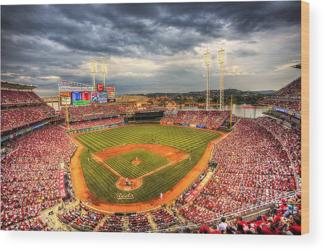 Cincinnati Reds Wood Print featuring the photograph Great American Ballpark by Shawn Everhart
