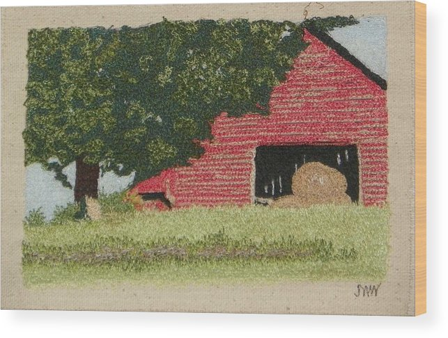 Fiber Wood Print featuring the mixed media Hay Barn by Jenny Williams
