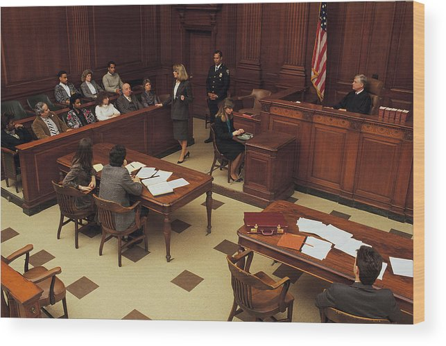 Crowd Wood Print featuring the photograph High angle view of courtroom by Comstock