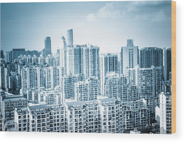Residential District Wood Print featuring the photograph High Rise Residential Area by Aaaaimages