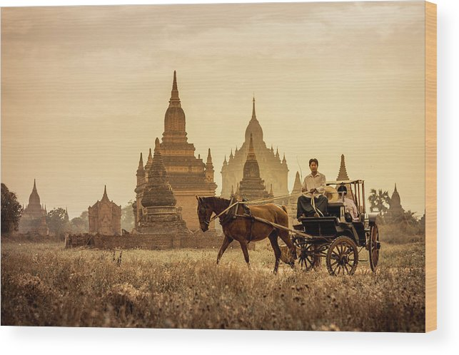 Horse Wood Print featuring the photograph Horse And Carriage Turning By Temples by Merten Snijders