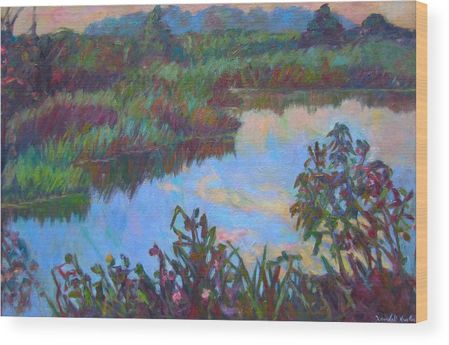 Landscape Wood Print featuring the painting Huckleberry Line Trail Rain Pond by Kendall Kessler
