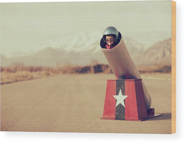 4-5 Years Wood Print featuring the photograph Human Cannonball by Richvintage