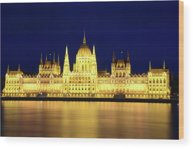 Hungarian Parliament Building Wood Print featuring the photograph Hungarian Parliament Building, Budapest by Dragos Cosmin Photos