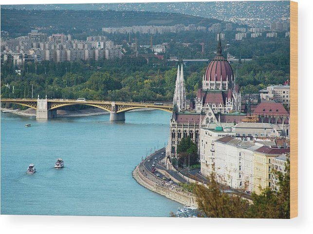 Arch Wood Print featuring the photograph Hungarian Parliament Building by Paul Biris
