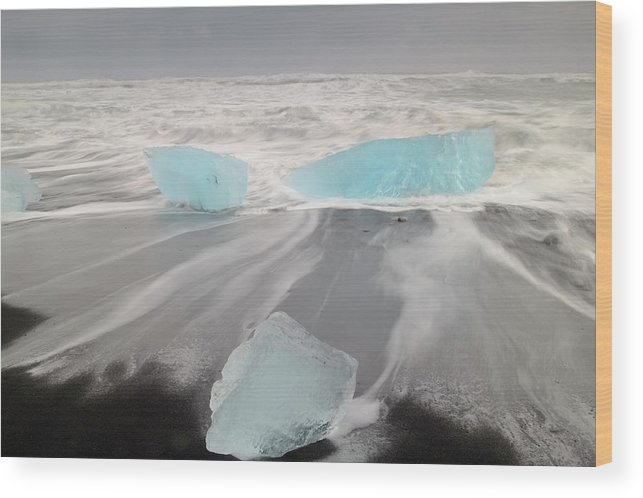 Scenics Wood Print featuring the photograph Icebergs Washed Up On Volcanic Sandy by Travelpix Ltd