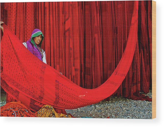 Expertise Wood Print featuring the photograph India, Rajasthan, Sari Factory by Tuul & Bruno Morandi