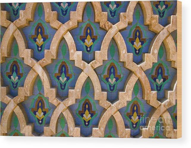 Zelij Wood Print featuring the photograph Intricate Zelji at the Hassan II Mosque Sour Jdid Casablanca Morocco by PIXELS XPOSED Ralph A Ledergerber Photography