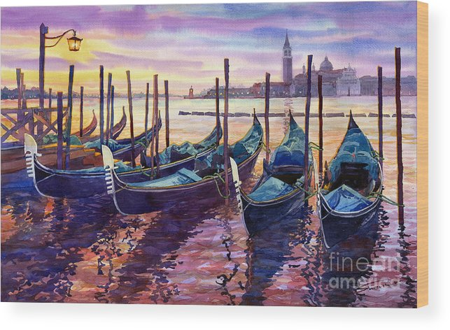 Watercolor Wood Print featuring the painting Italy Venice Early Mornings by Yuriy Shevchuk