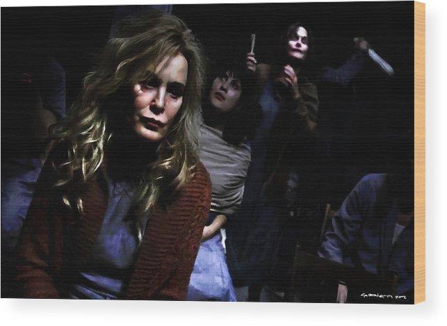 American Horror Story: Asylum Wood Print featuring the digital art Jessica Lange as Sister Jude @ TV serie American Horror Story Asylum by Gabriel T Toro