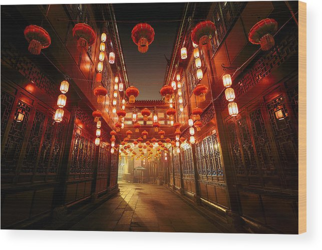 Chinese Culture Wood Print featuring the photograph Jinli Street, Chengdu, Sichuan, China by Kiszon Pascal