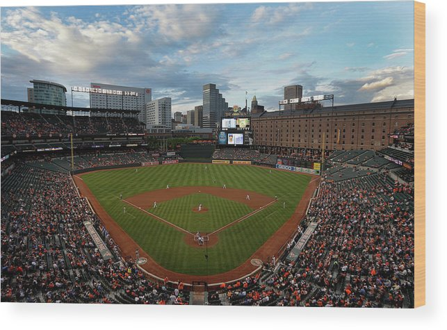 American League Baseball Wood Print featuring the photograph Kansas City Royals V Baltimore Orioles by Rob Carr