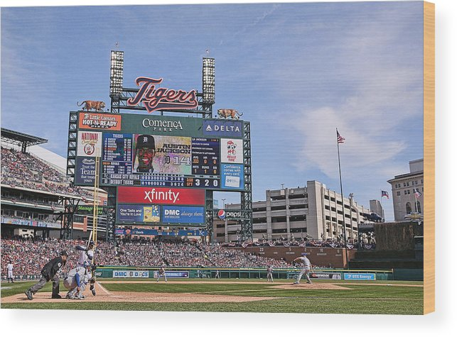 American League Baseball Wood Print featuring the photograph Kansas City Royals V Detroit Tigers by Leon Halip