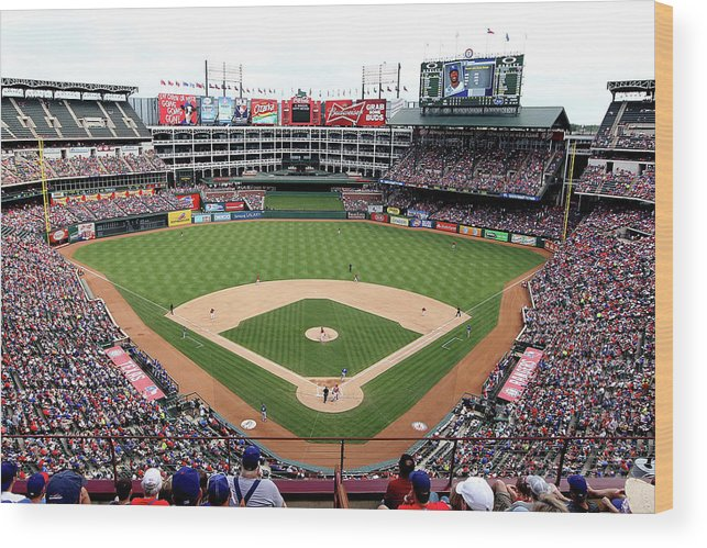 American League Baseball Wood Print featuring the photograph Kansas City Royals V Texas Rangers by Rick Yeatts
