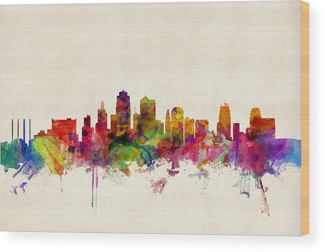 Watercolour Wood Print featuring the digital art Kansas City Skyline by Michael Tompsett