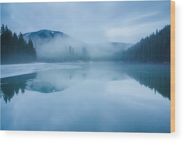 Scenics Wood Print featuring the photograph Lake Surrounded By Mountains And Forest by Verybigalex