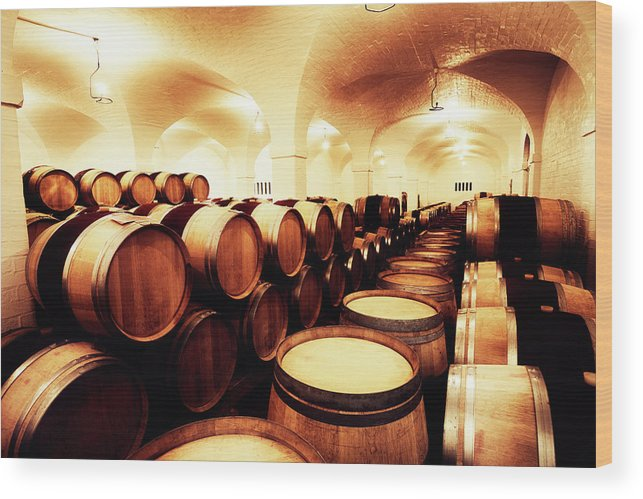 Alcohol Wood Print featuring the photograph Large Winery Cellar Filled With Oak by Rapideye
