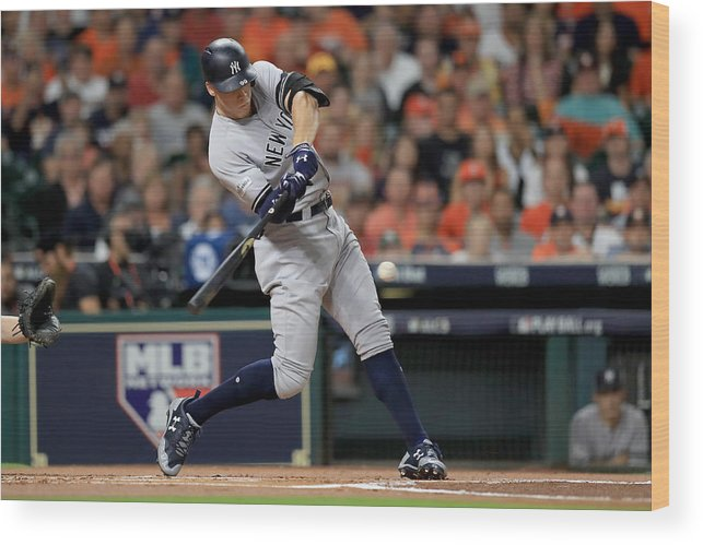 Championship Wood Print featuring the photograph League Championship Series - New York Yankees v Houston Astros - Game Seven by Ronald Martinez