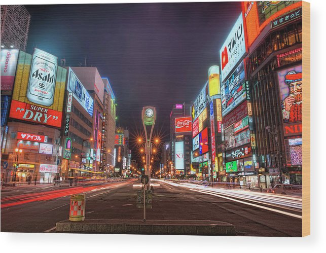 Hokkaido Wood Print featuring the photograph Light Trails In Susukino by Daniel Chui