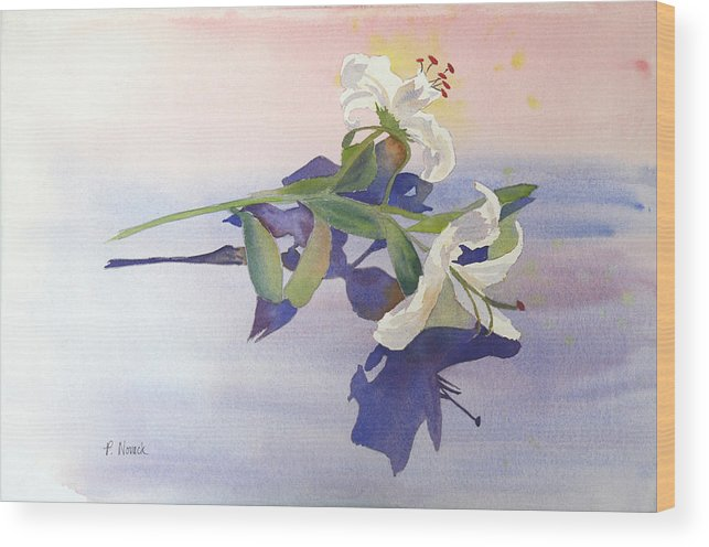 Lily Wood Print featuring the painting Lilies At Rest by Patricia Novack