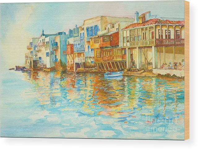 Venice Wood Print featuring the painting Little Venice by Arleen Barton
