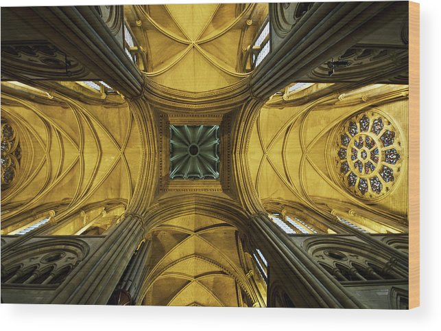 Arch Wood Print featuring the photograph Looking Up At A Cathedral Ceiling by James Ingham / Design Pics