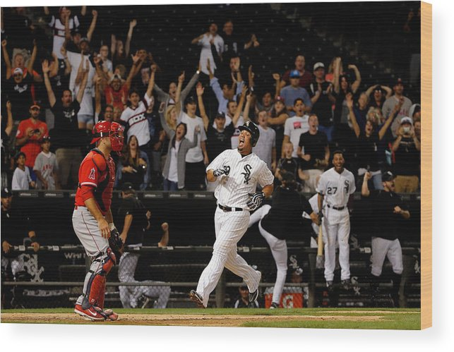 People Wood Print featuring the photograph Los Angeles Angels Of Anaheim V Chicago by Jon Durr