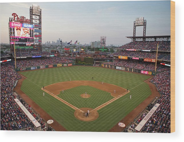 American League Baseball Wood Print featuring the photograph Los Angeles Angels Of Anaheim V by Mitchell Leff