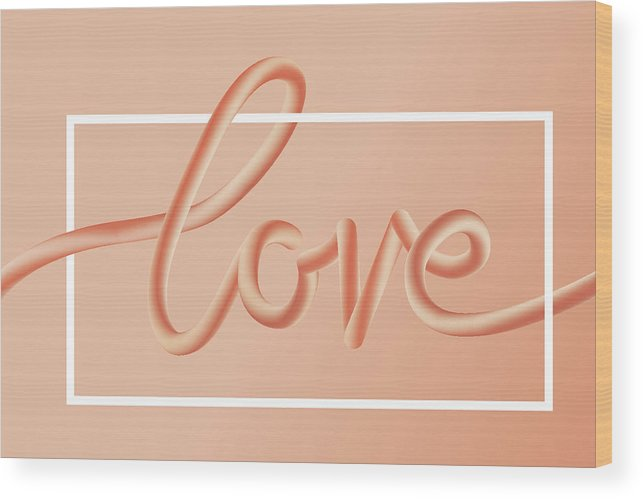 Home Decor Wood Print featuring the digital art Love Text Lettering In Red Color by Apagafonova