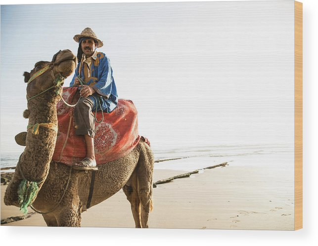 Agadir Wood Print featuring the photograph Man On Camel On Beach, Taghazout by Tim E White