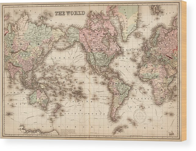 Globe Wood Print featuring the digital art Map Of The World 1855 by Thepalmer