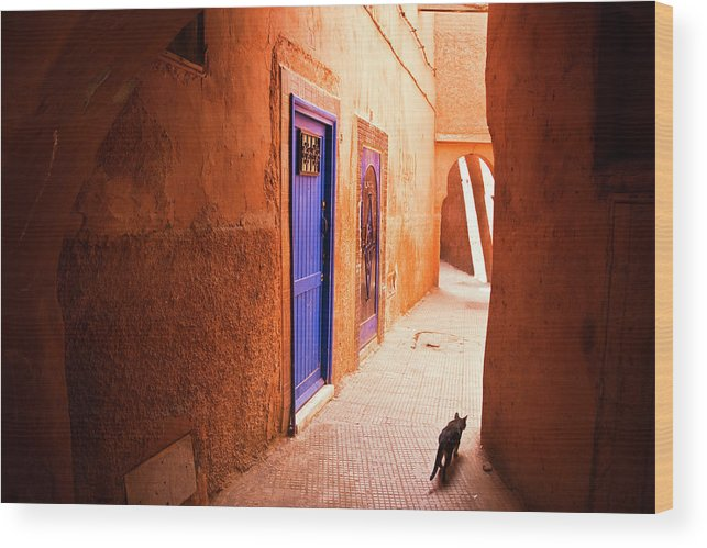 Arch Wood Print featuring the photograph Medina Of Marrakesh by Moreiso