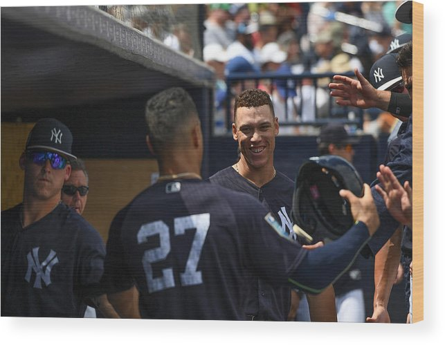 People Wood Print featuring the photograph Miami Marlins v New York Yankees by Mark Brown
