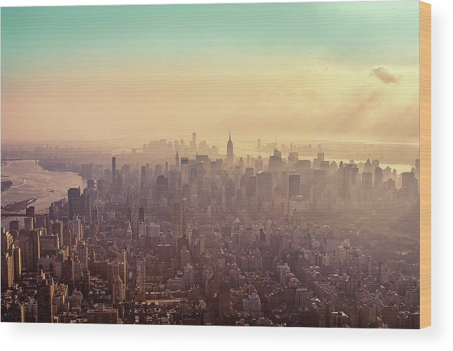 Outdoors Wood Print featuring the photograph Midtown Manhattan At Dusk by Matthias Haker Photography