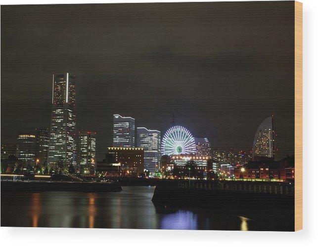 Tranquility Wood Print featuring the photograph Minato-mirai by Takuya.skd