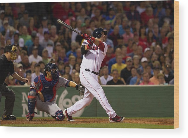 American League Baseball Wood Print featuring the photograph Minnesota Twins V Boston Red Sox by Rich Gagnon