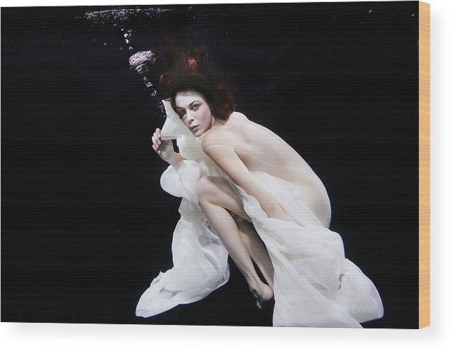 Underwater Wood Print featuring the photograph Mixed Race Woman In Scarf Swimming by Ming H2 Wu