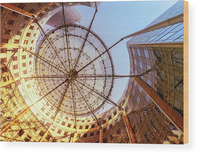 Corporate Business Wood Print featuring the photograph Modern Architecture With Sun Shade by Warchi